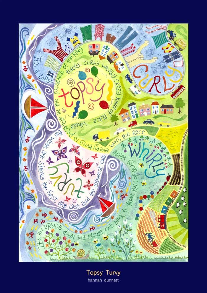 Hannah Dunnett Topsy Turvy Art Poster