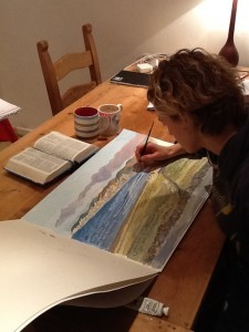 Hannah Dunnett Seaside Art Print in progress