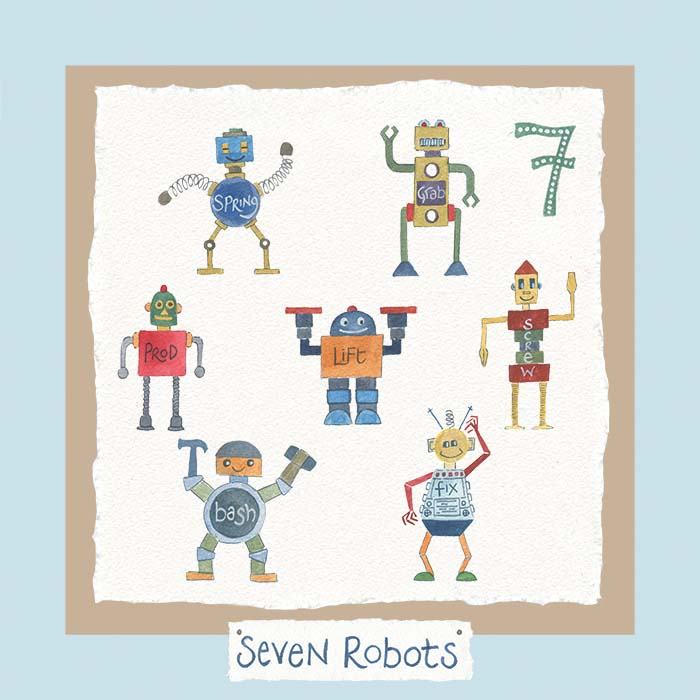 Hannah Dunnett number seven card robots blue background
