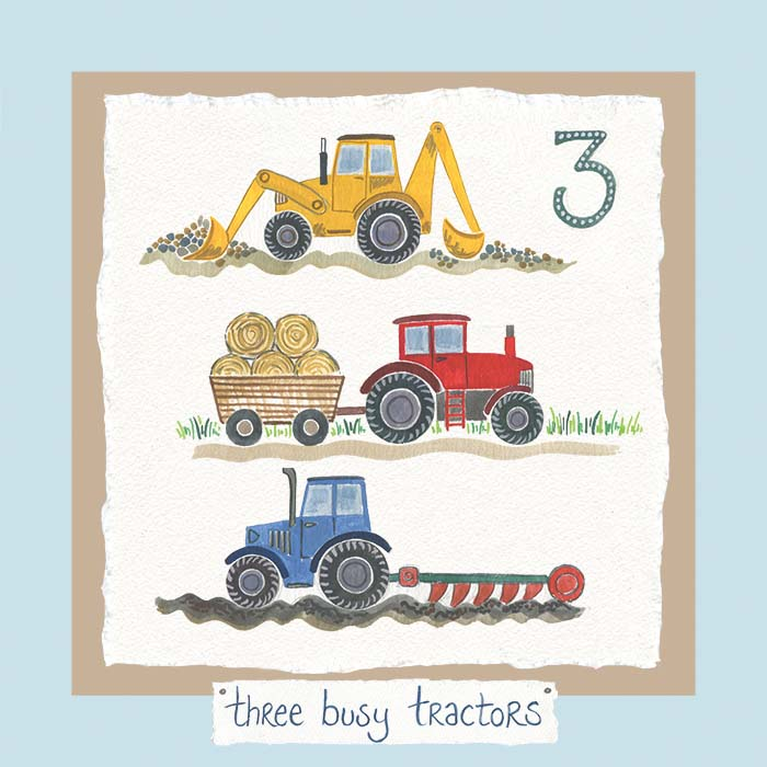 Hannah Dunnett number three card tractors blue background