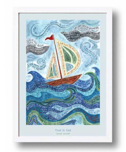 Hannah Dunnett Trust in God A3 Poster white frame