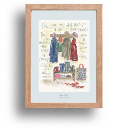 Hannah Dunnett Abba Father A4 poster oak framed