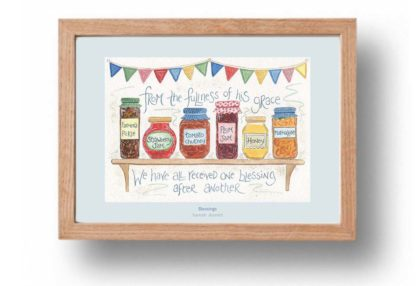 Hannah Dunnett Blessings A4 poster oak framed