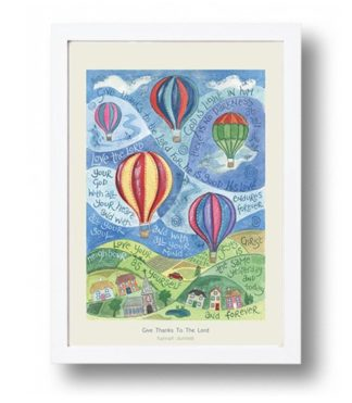 Hannah Dunnett Give Thanks To The Lord A4 poster white framed
