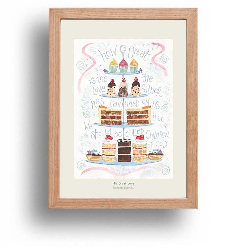 Hannah Dunnett His Great Love A4 poster oak framed