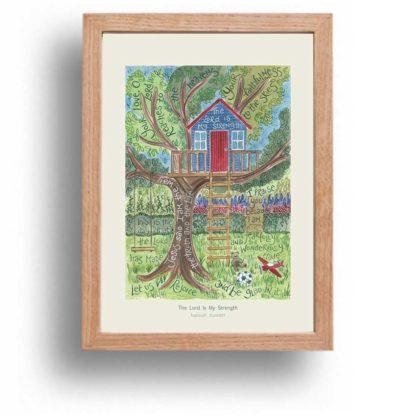 Hannah Dunnett The Lord is my strength A4 poster oak framed