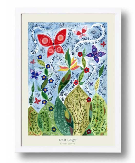Hannah Dunnett new Great Delight A3 Poster white frame finished
