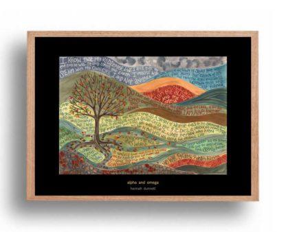 Hannah Dunnett Alpha and Omega A3 Poster oak frame