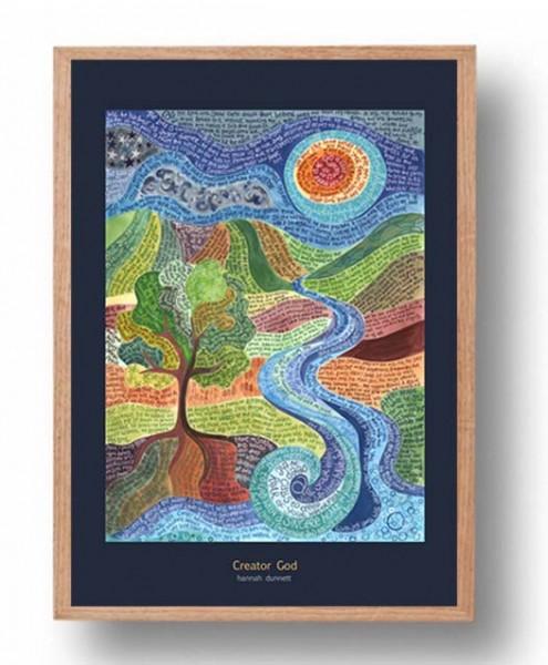 Hannah Dunnett Creator God A3 Poster oak frame