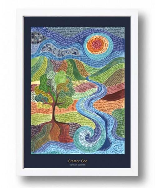 Hannah Dunnett Creator God A3 Poster white frame