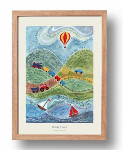 Hannah Dunnett Dearly Loved A3 Poster oak frame