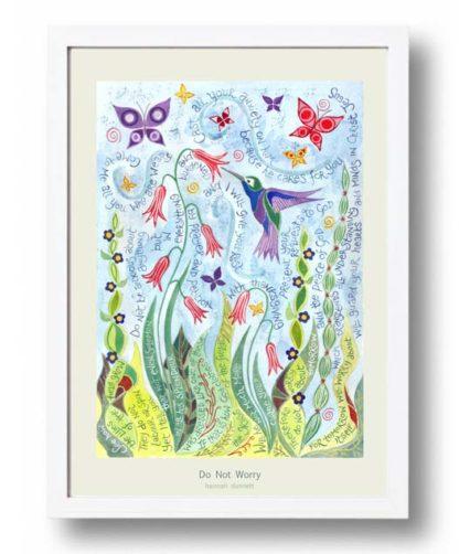Hannah Dunnett Do not worry A3 Poster white frame