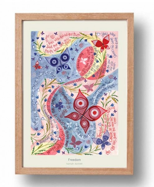 Hannah Dunnett Freedom A3 Poster oak frame