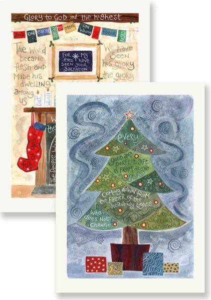 Hannah Dunnett Glory to God and Christmas Tree Christmas card pack
