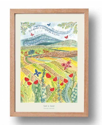 Hannah Dunnett God is Good cream border A3 Poster oak frame