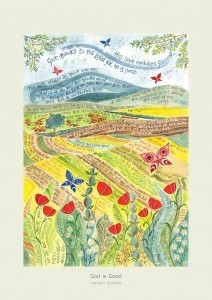 Hannah Dunnett God is Good greetings card pale border