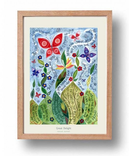 Hannah Dunnett Great Delight A3 Poster framed oak