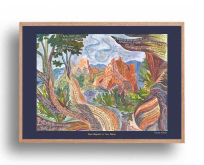 Hannah Dunnett How Majestic is Your Name A3 Poster oak frame