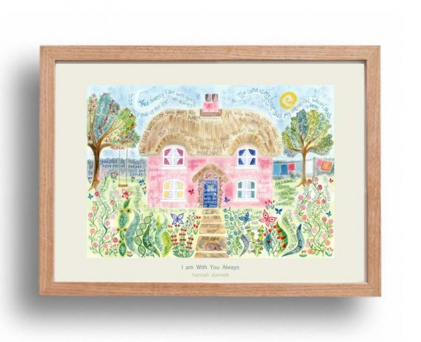 Hannah Dunnett I am with you always A3 Poster oak frame