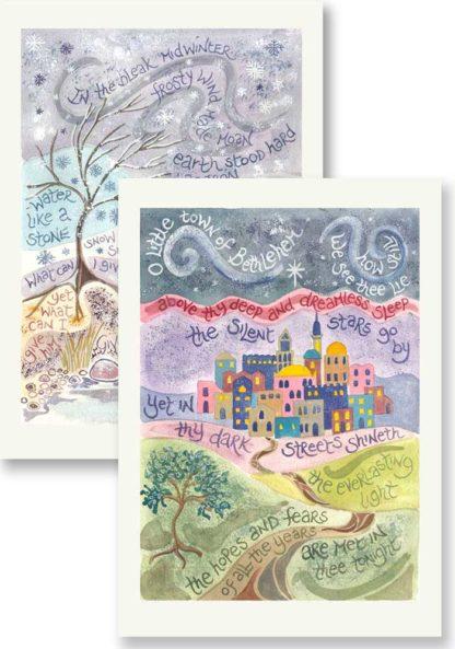 Hannah Dunnett In the Bleak and O Little Town Christmas card pack