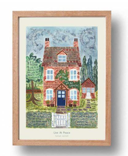 Hannah Dunnett Live At Peace A3 Poster oak frame