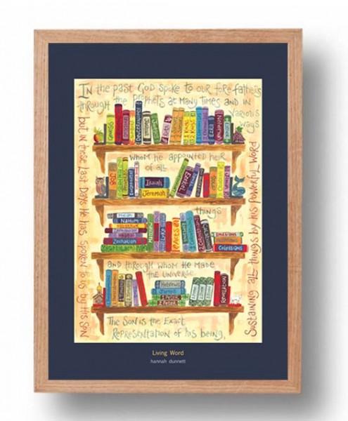 Hannah Dunnett Living Word A3 Poster oak frame
