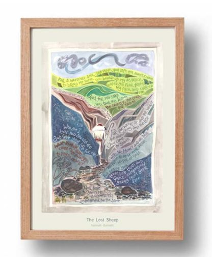 Hannah Dunnett Lost Sheep A3 Poster oak frame