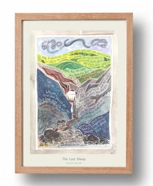 Hannah Dunnett Lost Sheep A3 Poster oak frame