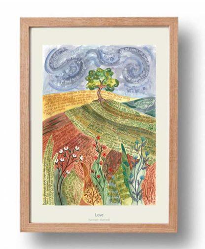 Hannah Dunnett Love A3 Poster oak frame