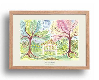 Hannah Dunnett Lover and Beloved A3 Poster oak frame