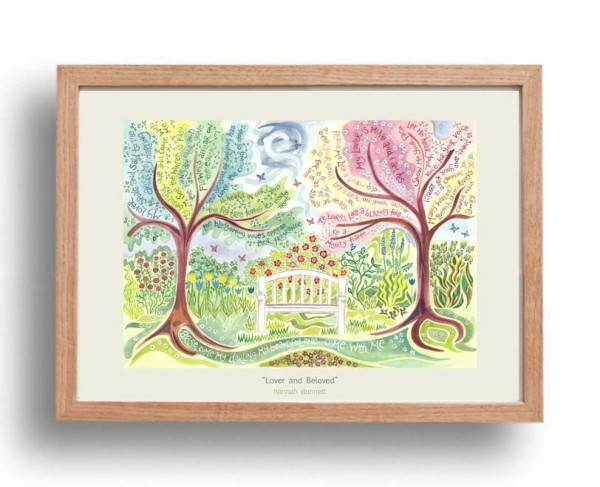 Hannah Dunnett Lover and Beloved A3 Poster oak frame