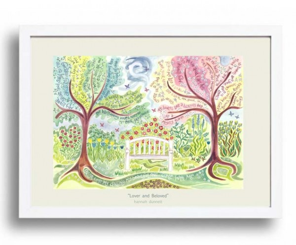 Hannah Dunnett Lover and Beloved A3 Poster white frame