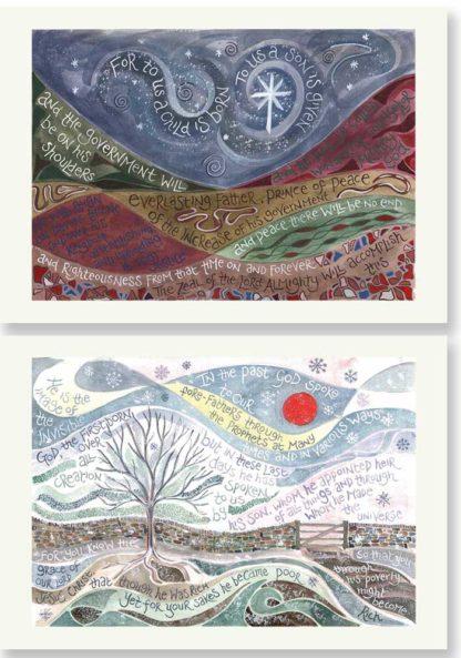 Hannah Dunnett Night Sky and Winter Sun Christmas card pack