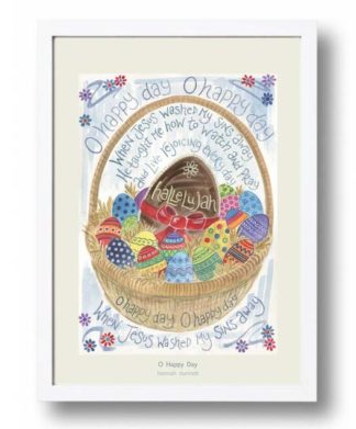 Hannah Dunnett O Happy Day A3 Poster white frame