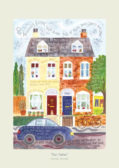 Hannah Dunnett Our Father greetings card pale border