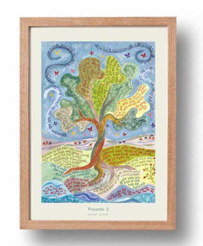 Hannah Dunnett Proverbs 3 A3 Poster oak frame