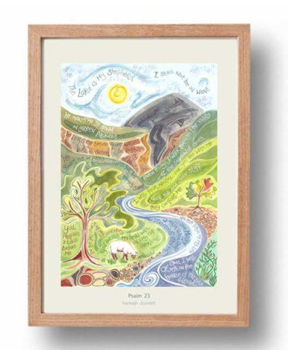 Hannah Dunnett Psalm 23 A3 Poster oak frame