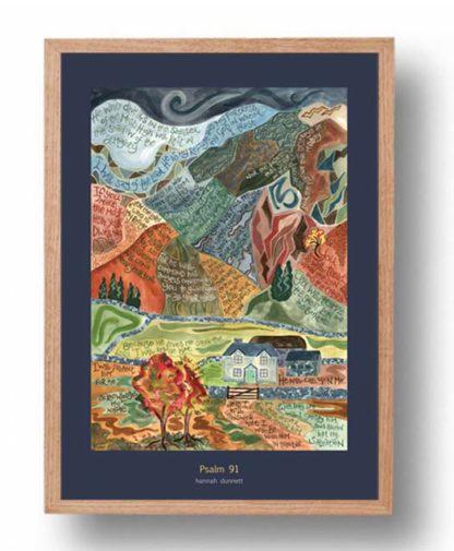 Hannah Dunnett Psalm 91 A3 Poster oak frame