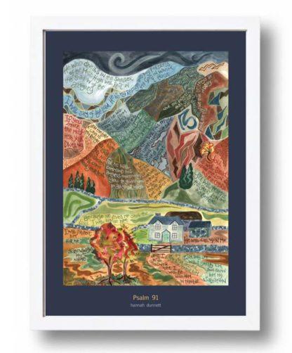 Hannah Dunnett Psalm 91 A3 Poster white frame