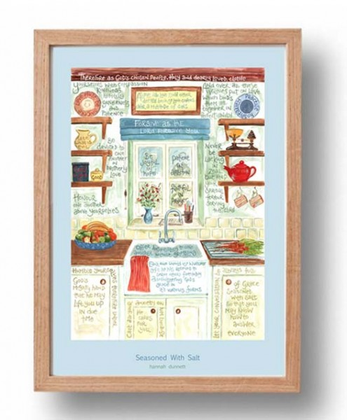 Hannah Dunnett Seasoned with Salt A3 Poster oak frame
