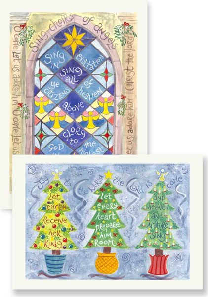Hannah Dunnett Sing Choirs of Angels and Joy to the world Christmas card pack