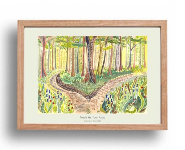 Hannah Dunnett Teach me Your Paths A3 Poster oak frame