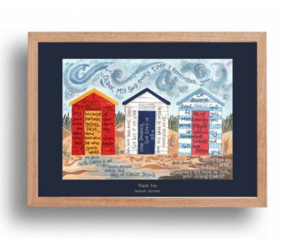 Hannah Dunnett Thank You A3 Poster oak frame