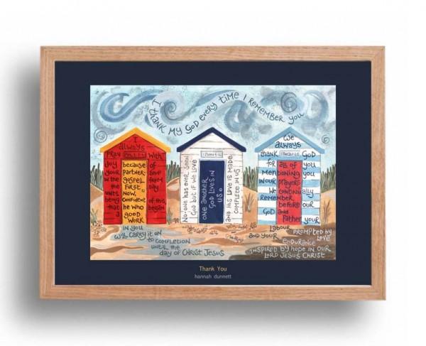 Hannah Dunnett Thank You A3 Poster oak frame