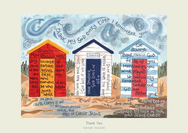 Hannah Dunnett Thank you greetings card pale border