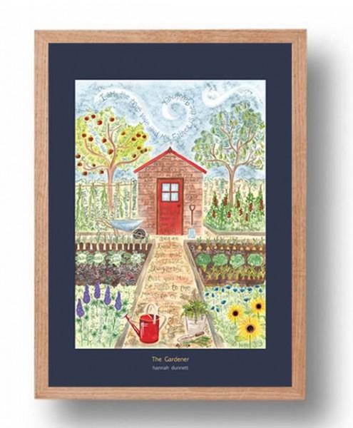 Hannah Dunnett The Gardener A3 Poster oak frame