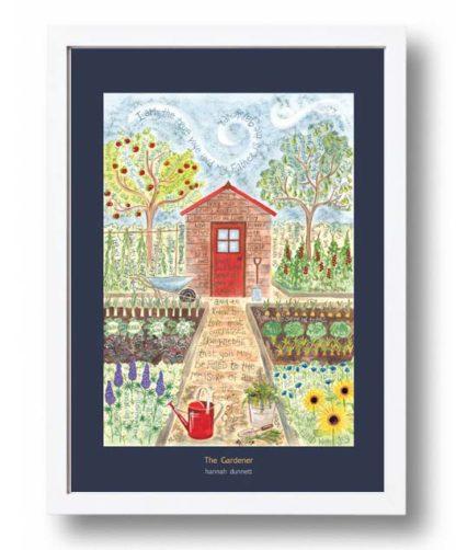 Hannah Dunnett The Gardener A3 Poster white frame