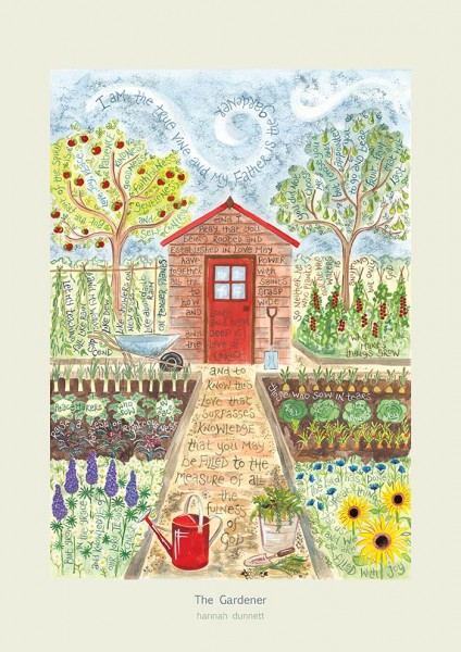 Hannah Dunnett The Gardener greetings card pale border