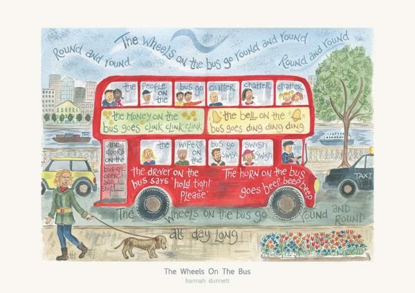 Hannah Dunnett The Wheels on The Bus greetings card