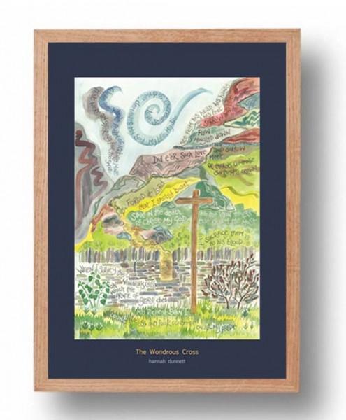 Hannah Dunnett The Wondrous Cross A3 Poster oak frame